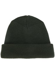 Alyx Ribbed Beanie Calf Leather Wool Metal Green
