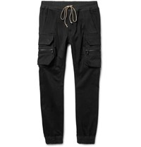 Rick Owens Skinny Fit Stretch Cotton Blend Cargo Trousers Black