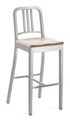 Emeco Navy Barstool With Natural Wood Seat Gray