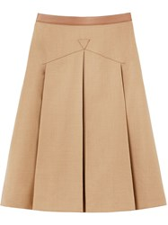 Burberry Leather Trimmed Pleated Skirt Neutrals