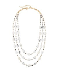 Emily And Ashley Marbled Stone Multi Strand Necklace Ivory