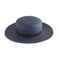 J.Crew Straw Boater Hat Dark Cobalt