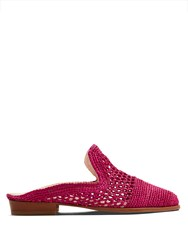 Robert Clergerie Antes Woven Raffia Slip On Loafers Fuchsia