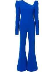 Christian Siriano Longsleeved Flared Jumpsuit Blue