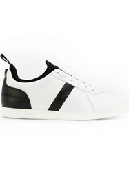 Christian Dior Homme Striped Sneakers Men Calf Leather Leather Polyester Foam Rubber 41 White