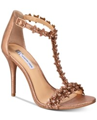 Inc International Concepts Women's Rosiee T Strap Embellished Evening Sandals Only At Macy's Women's Shoes Copper