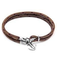 Anchor And Crew Brighton Rope Silver Braceletbrown 21Cm