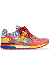 Dolce And Gabbana Printed Leather Sneakers Red