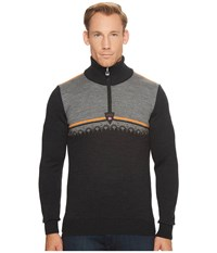 Dale Of Norway Lahti Sweater E Dark Charcoal Orange Peel Smoke Men's Sweater Black