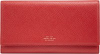 Smythson Panama Marshall Travel Wallet Red