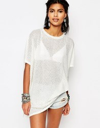 Stitch And Pieces Oversized Knitted Longline T Shirt Cream
