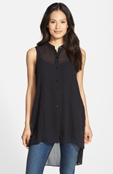 Eileen Fisher Mandarin Collar Silk Tunic Black