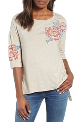 Wit And Wisdom Floral Print Top Oat Oatmeal