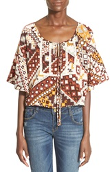 See You Monday Print Circle Peasant Top Rust