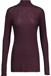 Enza Costa Ruffled Ribbed Cotton Turtleneck Top Burgundy