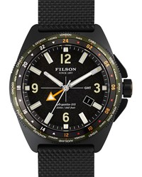 44Mm Journeyman Gmt Watch With Cloth Strap Black Filson Silver