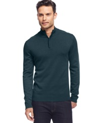 Alfani Red Solid Slim Fit Quarter Zip Sweater Mysterious Heather
