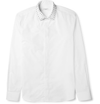 Givenchy Slim Fit Studded Collar Cotton Shirt White