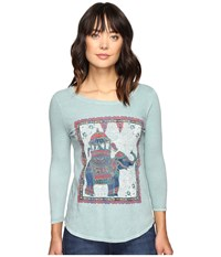 Lucky Brand Elephant Ride Tee Silver Blue Women's T Shirt
