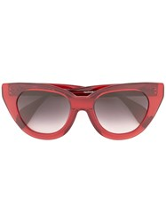 Oscar De La Renta Holly Large Cat Eye Sunglasses Red