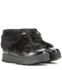 Prada Fur Trimmed Leather Ankle Boots Black