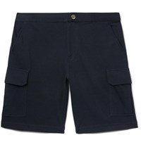 Brunello Cucinelli Cotton Blend Jersey Cargo Shorts Blue