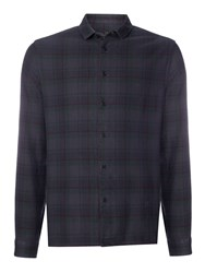 Label Lab Reynolds Overdyed Check Long Sleeve Shirt Charcoal