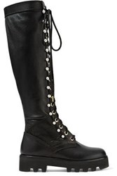 Altuzarra Cosmo Faux Pearl Embellished Leather Knee Boots Black