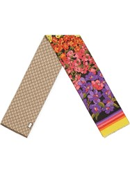 Gucci Gg And Floral Print Scarf Black