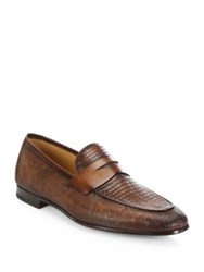 Saks Fifth Avenue Collection By Magnanni Lizard Loafers Tobacco