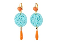 Kenneth Jay Lane 7849Ectcp Small Gold And Top With Carved And Drop Wire Earrings Coral Turquoise Earring Orange