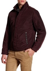 Perry Ellis Oxford Tech Faux Leather Trim Jacket Red