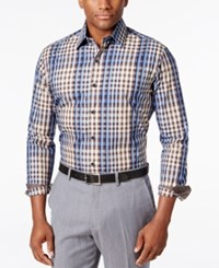 Tasso Elba Men's Big And Tall Classic Fit Plaid Long Sleeve Shirt Only At Macy's Brown Combo