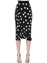 Dolce And Gabbana Polka Dot Ruffled Silk Charmeuse Skirt