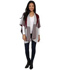 Fate Poncho Wine Grey Women's Clothing Burgundy