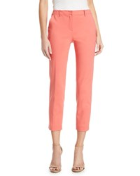 Emporio Armani Mid Rise Crop Cotton Stretch Pants Pink
