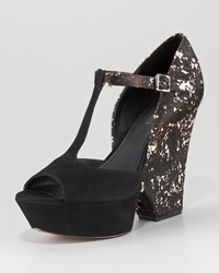 Rachel Zoe Frankie T Strap Calf Hair Wedge 41.0B 11.0B