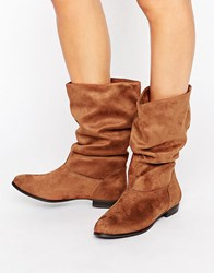 Call It Spring Gogali Scrunch Flat Calf Boots Cognac Tan