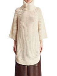 Chloe Chunky Oversize Alpaca And Wool Knit Turtleneck Sweater Sea Pearl
