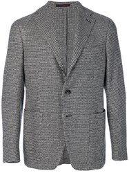 The Gigi Houndstooth Print Blazer Acetate Viscose Virgin Wool Black