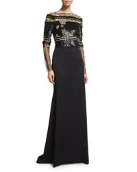 Pamella Roland Long Sleeve Embroidered Georgette Gown Black Multi Size 14 Black Multi