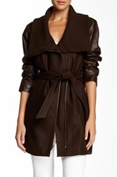 Truth Of Touch Mercer Leather Sleeve Wool Blend Coat Brown