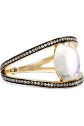 Noor Fares 18 Karat Gold Moonstone Diamond And Sapphire Ring