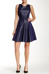 My Tribe Ponte Leather Fit And Flare Dress Purple