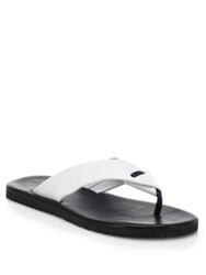 Saks Fifth Avenue Perforated Leather Flip Flops Dark Brown White