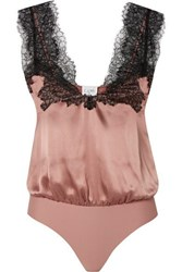 Cami Nyc The Lauren Lace Trimmed Silk Charmeuse And Stretch Jersey Thong Bodysuit Pink