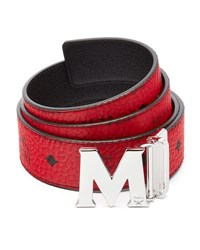 Mcm Claus Reversible Visetos Saffiano Belt Ruby Red