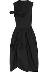 Simone Rocha Bow Embellished Cotton Poplin Midi Dress Black