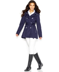 Jessica Simpson A Line Hooded Trench Coat Navy