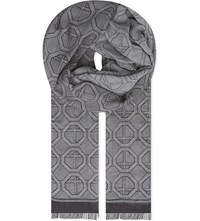 Eton Geometric Modal And Cotton Blend Scarf Grey